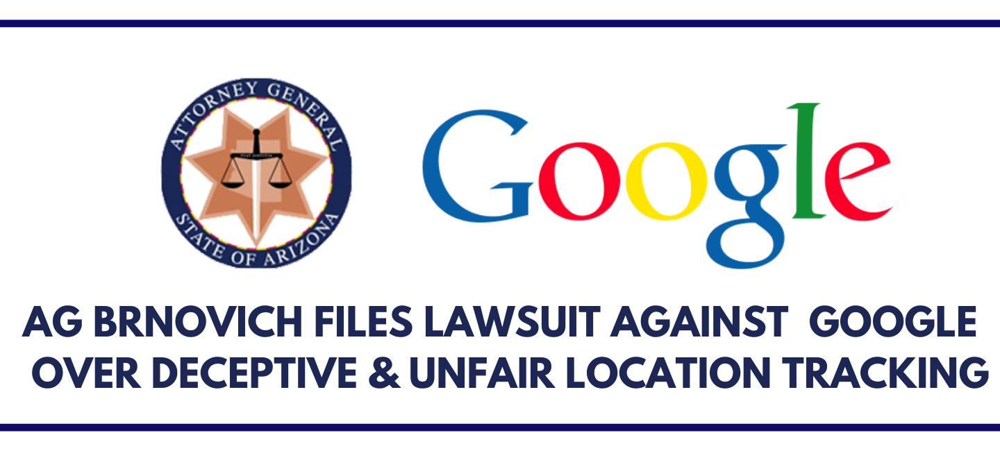 Banner announcing lawsuit being filed against Google with logos displayed.