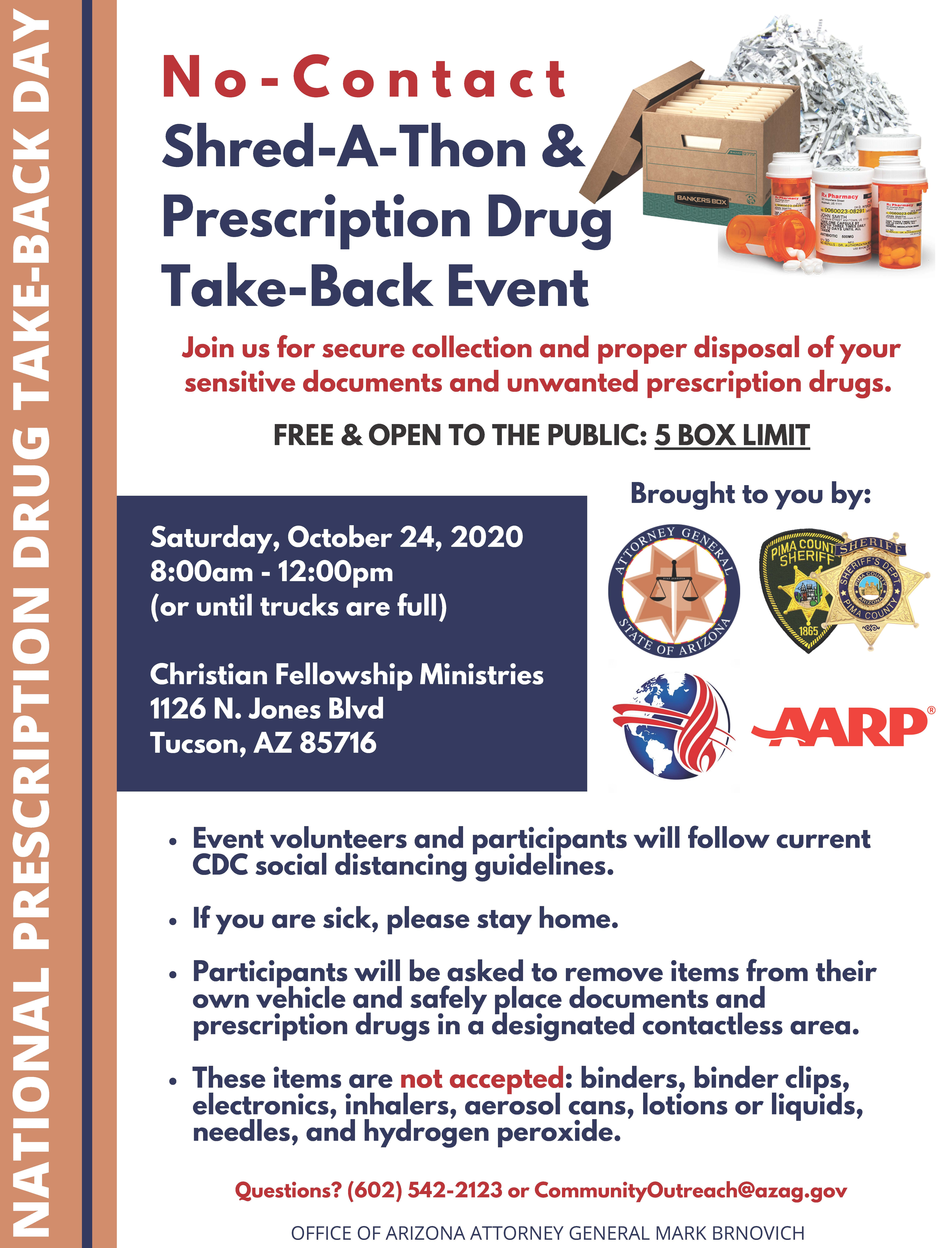 Flyer of Shred-a-thon and Drug Take-Back event