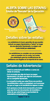 scam-alert card with tips in spanish